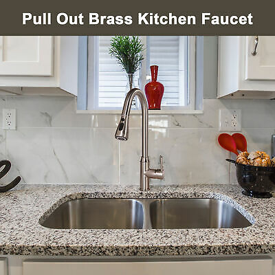 Pull Out Faucet w/ Pull Down Sprayer Stream/Spray/Pause for Kitchen Sink