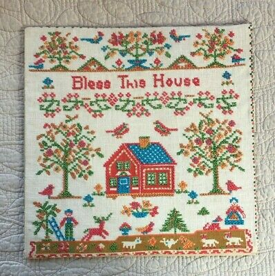 Bless This House Vintage Cross Stitch Completed