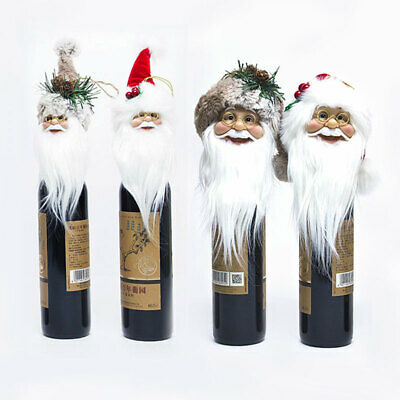 Christmas Santa Claus Tree Topper Red Wine Bottle Caps Old Man Xmas Decorations