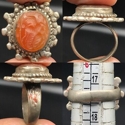 Silver Lovely Ring With Old Stunning Roman Agate intaglio stone