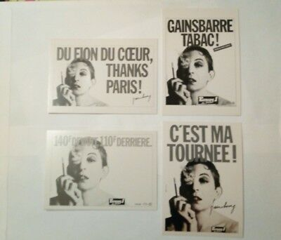 4 carte postales Serge Gainsbourg publicitaires Europe 1 Tabac