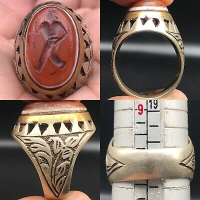 Solid Silver Unique Old Roman Agate king Face intaglio stone Lovely Ring