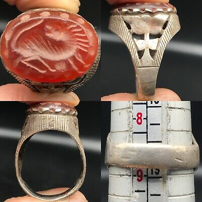 Lovely Silver Wonderful Ring With Old Stunning Roman Agate intaglio stone