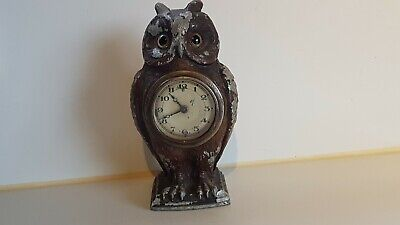 Antique Vintage Alloy Cased Asgo Made England Unusual Owl Clock Working S/Rps