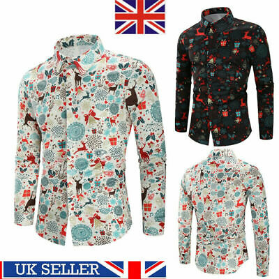 Mens Christmas Floral Shirt Blouse Casual Xmas Party Long Sleeve Fit Tops Tee UK