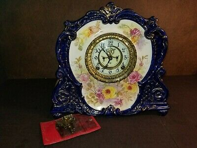 Antique Ansonia Cobalt Blue Porcelain Royal Bonn Case (La Maurne) Mantle Clock
