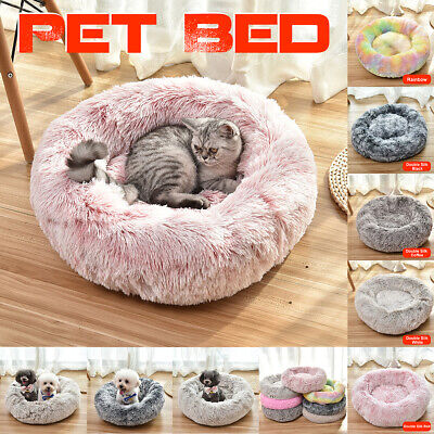 Pet Dog Cat Calming Bed Round Nest Warm Soft Plush Comfortable for Sleeping #!