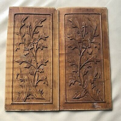 French Door Plaques Carved Wood Wooden Salvage Art Nouveau Antique Vintage Old