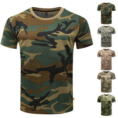 Men Fitted Short Sleeve Tops Plus Size Military Army Basic Tee Camouflage Shirts