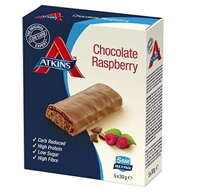 Atkins Low Carb High Protein Chocolate Raspberry Bars 20 x 30g BBE 16/11/19