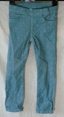Girls H&M Light Blue Cord Silver Sparkly Star Skinny Pull On Jeans Age 2-3 Years