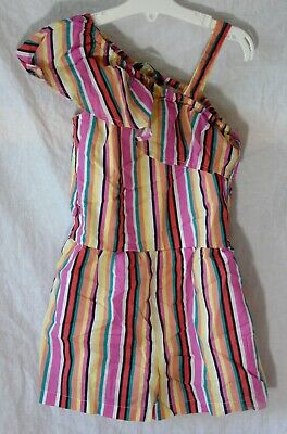Girls George Pink Multi Stripe Ruffle Cold Shoulder Short Playsuit Age 5-6 Years