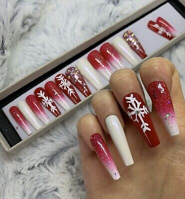 Christmas Red Snowflake False Fake Extra Long Ballerina Nails Set