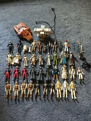 Star Wars Figures And Accessories 1970's To 80's Job Lot With Ship And Station