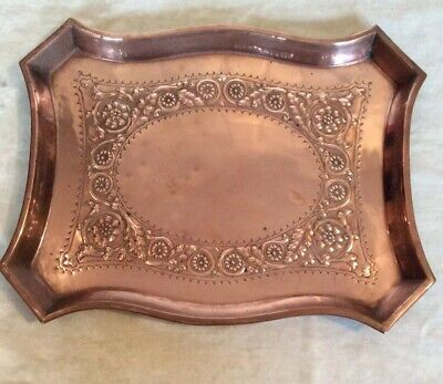 Superb Quality Antique Hand Decorated Copper Serving Large Tray Arts & Crafts