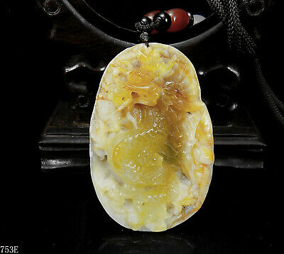 100% Natural Hand-carved Chinese Jade Pendant jadeite Necklace bat&dragon 753e
