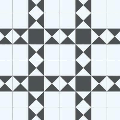 Hightex Decon Black and White Victorian Tile Vinyl Flooring Remnant  1.55m x 3m