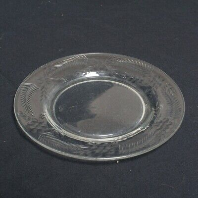 5 Piece Victorian Clear Glass Dessert Plates with Etched Floral Design 7.5""