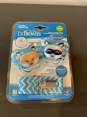 New Dr Brown's PreVent pacifier 2 pack 0-6 months (stage 1), pacifier clip Boy