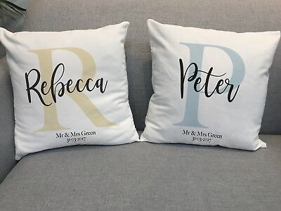 Initials Letter Monogram Name Personalised Gift Valentine's Anniversary Cushions