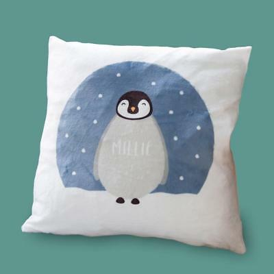 Personalised Fluffy Penguin Cushion - Stunning Pillow For Nursery | ANY NAME