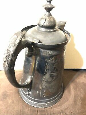 Vintage Antique Victorian Original Wilcox Silver Ice Water Coffee Pitcher