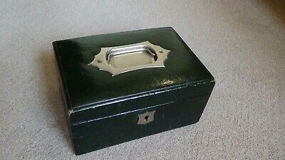 Antique Victorian / Edwardian Green Leather Bound Travel Jewellery Box With Key