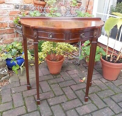 Serpentine Demi-Lune Mahogany Console Table~Hall~Lamp Or Side Table~2 Drawers