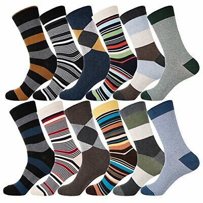 YourFeet Men's 12 Pairs Cotton Colorful Stripe Argyle Designed Assorted-2