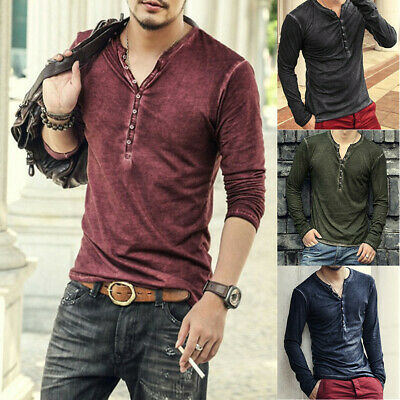 NEW Mens Button V Neck Long Sleeve Cotton T-Shirt Slim Fit Solid Casual Blouse