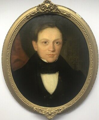 Oval 19th Century antique oil painting on canvas portrait study Victorian man