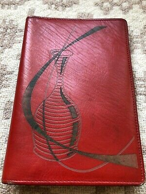Modernist Style Vintage Red Leather Wallet with Stunning Artwork 1950s Berlin