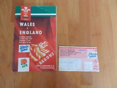 Wales V England Rugby Union Programme + Ticket Stub - Cardiff Arms Park 6/2/1993