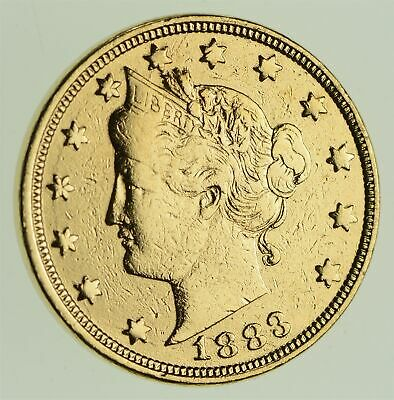 1883 24K Gold Plated 'Racketeer' Liberty V Nickel - Great History *783