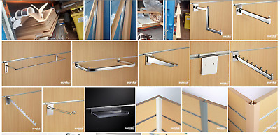 Shelving brackets, clothing rails, accessories for shop display slatwall panels
