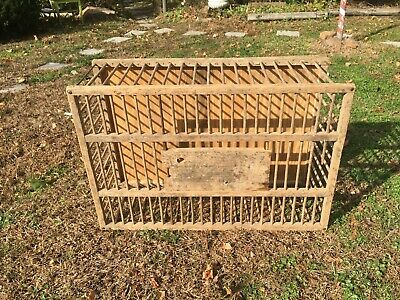 Primitive Wooden Chicken Crate Carrier Box Cage Farm House Barn Find