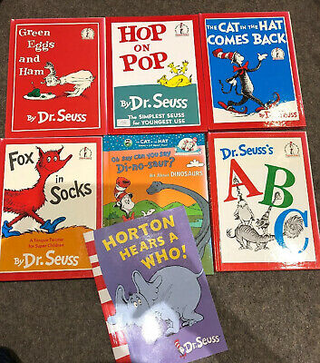 RS 7 X Dr Seuss Cat In The Hat Green Eggs & Ham Horton Hears A Who Books Set