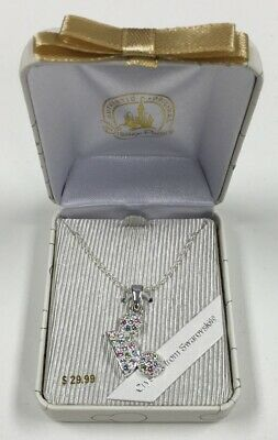 Disney Parks Mickey Mouse Silver Swarovski Rainbow Crystal Necklace New in Box