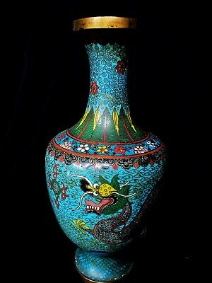 Superb Chinese Cloisonné Vase With Imperial Dragons.