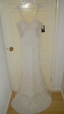 Lace wedding dress, pearl beading, mesh panel, true size 14 New with tags