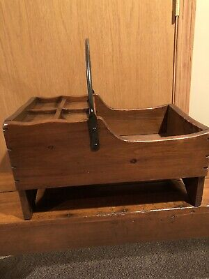 Antique  Wooden Cobblers- Carpenters Tool Box Tote- Carryall