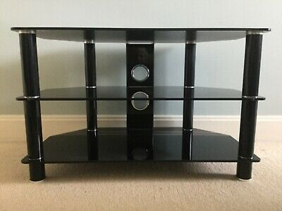 JOHN LEWIS TV Stand Black Glass & Chrome Television DVD Unit 3 Tiers Corner Wall