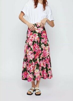 Zara Pink Green Multicoloured Floral Print Tiered Skirt With Belt, Size XS-BNWT