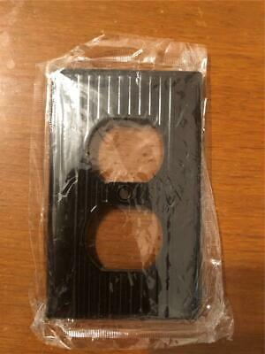 Vintage Dark Brown Bakelite? Wall Plate Outlet Cover NOScrew Art Deco Ribbed NEW