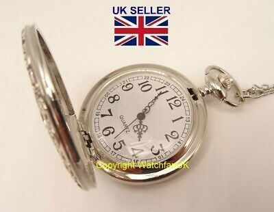 Quartz Pocket Watch With Silver Tone Metal Case Chain and Classic Dial