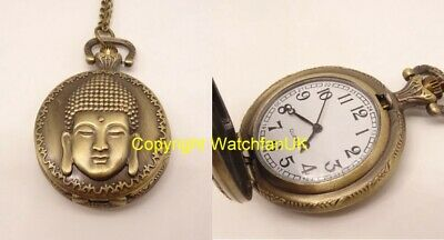 Quartz Pocket Watch With Metal Case Chain and Classic Dial Buddha