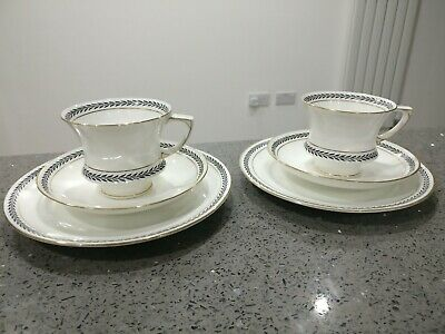 Paragon Art Deco Coffee Footed Cup Saucer & Side Plate Trio x 2 Black White Gold