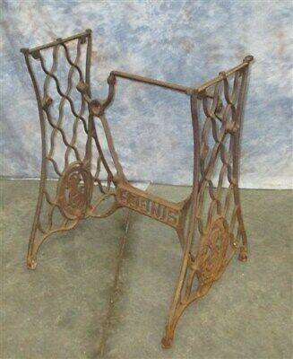 Treadle Sewing Machine Cast Iron Base Industrial Age Table Singer Steampunk gc