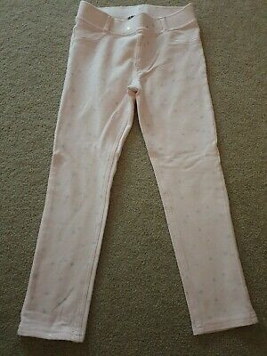 H&M Powder Pink Skinny Trousers Size 6-7 Years Stars Motif
