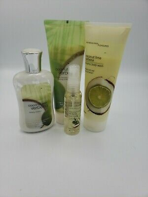 4 Pc Bath & Body Works Coconut Lime Verbena Set Lotion Cream Splash Body Lot